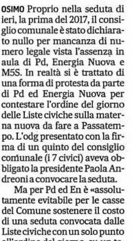 In riferimento all'articolo (allegato) apparso sul Corriere Adriatico del 5 gennaio, il Movimento 5 Stelle Osimo vuole specificare che i suoi 2 portavoce non hanno potuto partecipare alla seduta del […]
