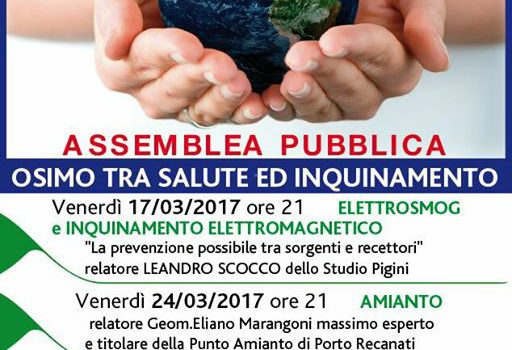 Il Movimento 5 Stelle di Osimo invita tutti i cittadini e l'amministrazione comunale, in particolare l'assessore all'ambiente Michela Glorio, al ciclo di conferenze strutturato in tre venerdì informativi su tematiche […]